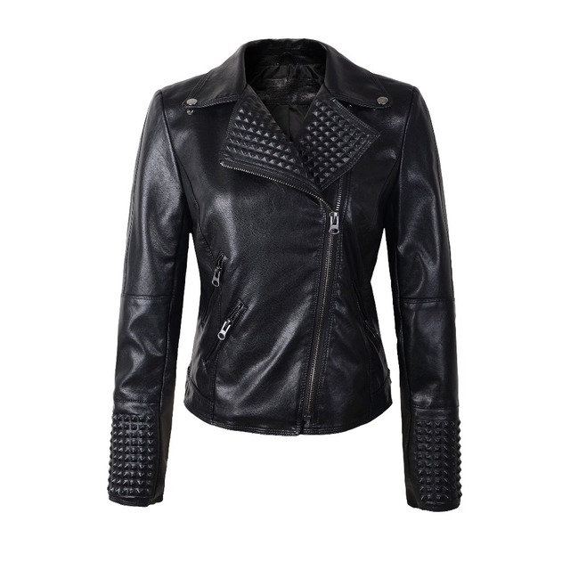 2016 New Fashion spring Autumn Women Faux Soft Leather Jackets Pu Black Blazer Zippers  Motorcycle Coat slim rivet  high quality