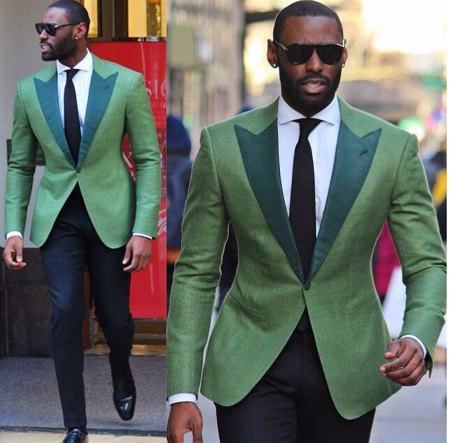 Latest Coat Pant Designs Green Slim Fit Skinny 2 Piece Men Suit Casual Peaked Lapel Tuxedo Fashion Party Suits Custom Vestidos