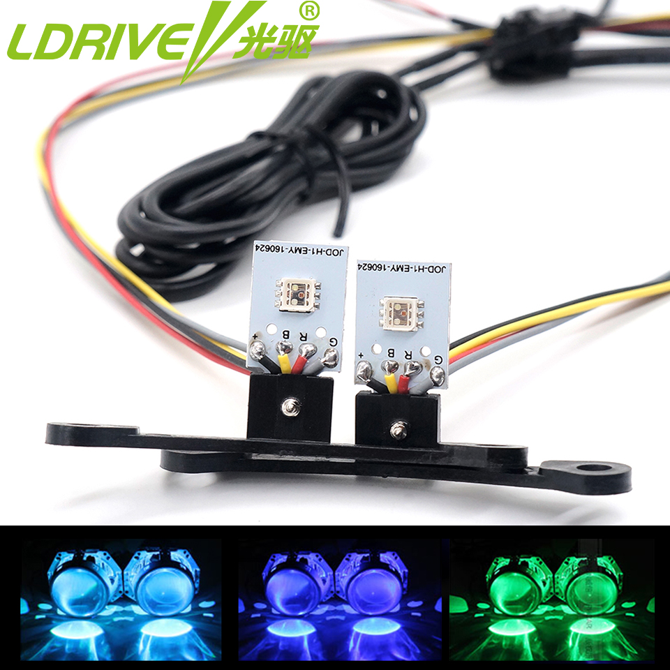 LDRIVE 2PC High Grade 6colors RGB LED Angel Eyes APP Control Demon LED Halo Rings Devil Eye Car Headlights Projector Lens 4 90mm rgb led lights wholesale price led halo rings 12v 10000k angel eyes rgb led angel eyes for byd for chery for golf4