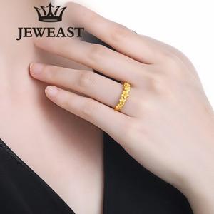 Image 5 - JMZB anillo de oro puro de 24K para mujer, sortijas de oro sólido auténtico AU 999, flores hermosas de lujo, joyería clásica bonito, producto en oferta, novedad de 2020