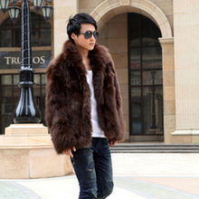 new arrival 2013 winter fashion men's fur coat trench faux fox fur coat outerwear thickening jacket free shipping D1198