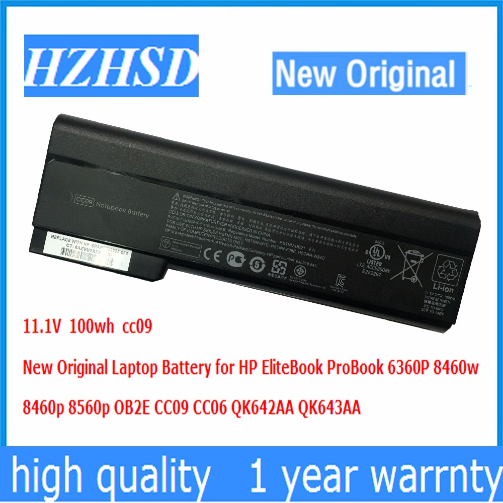 11.1V 100wh New Original CC09 Laptop Battery for HP EliteBook ProBook 6360P 8460w 8460p 8560p OB2E CC09 CC06 QK642AA QK643AA ssea us keyboard new for hp elitebook 8410p 8460p 8460w 8470p 8470w probook 6460b 6465b 6470b 6475b without frame
