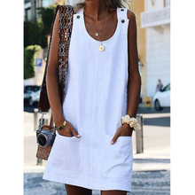 Casual mini dress for Women Fashion Button Prue Color Summer Off Shoulder Sleeveless Dress trendy off the shoulder pure color mini dress for women