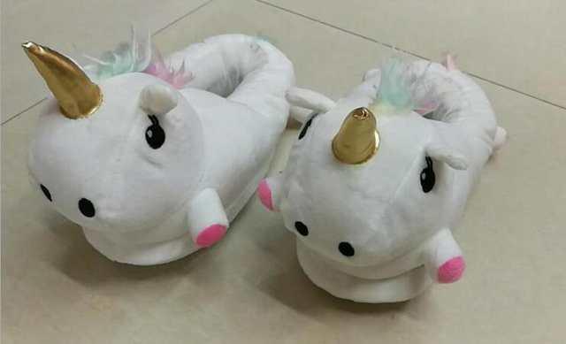 US $14.25] Women men Plush Unicorn Slippers Cosplay Chaussons ...