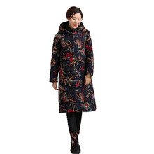 2017 Winter Women Cotton-padded jacket Casual New Fashion Coat Loose Thick Large Size Warm Hooded Printed Women Outerwear OK29