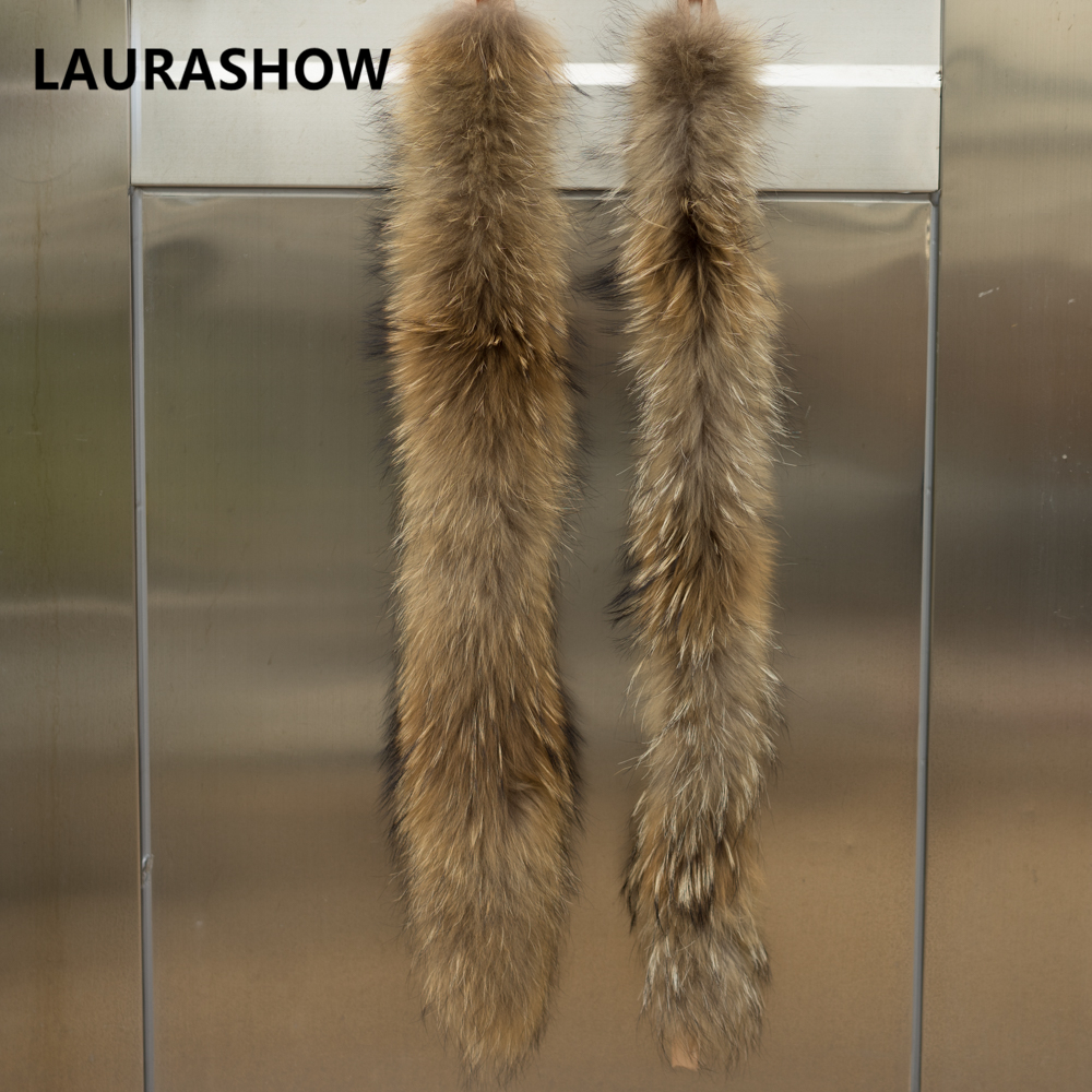 LAURASHOW 70cm Real Raccoon Fur Mink Natural Color Scarf Female - Apparel Accessories - Photo 3