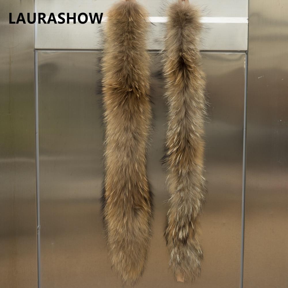 LAURASHOW 70cm jenots kažokādas dabiskas krāsas šalle sieviešu - Apģērba piederumi - Foto 3
