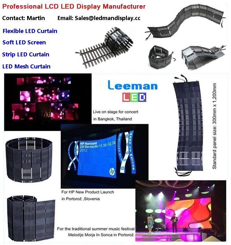 Leeman --- flexible soft led mesh stip curtain screen