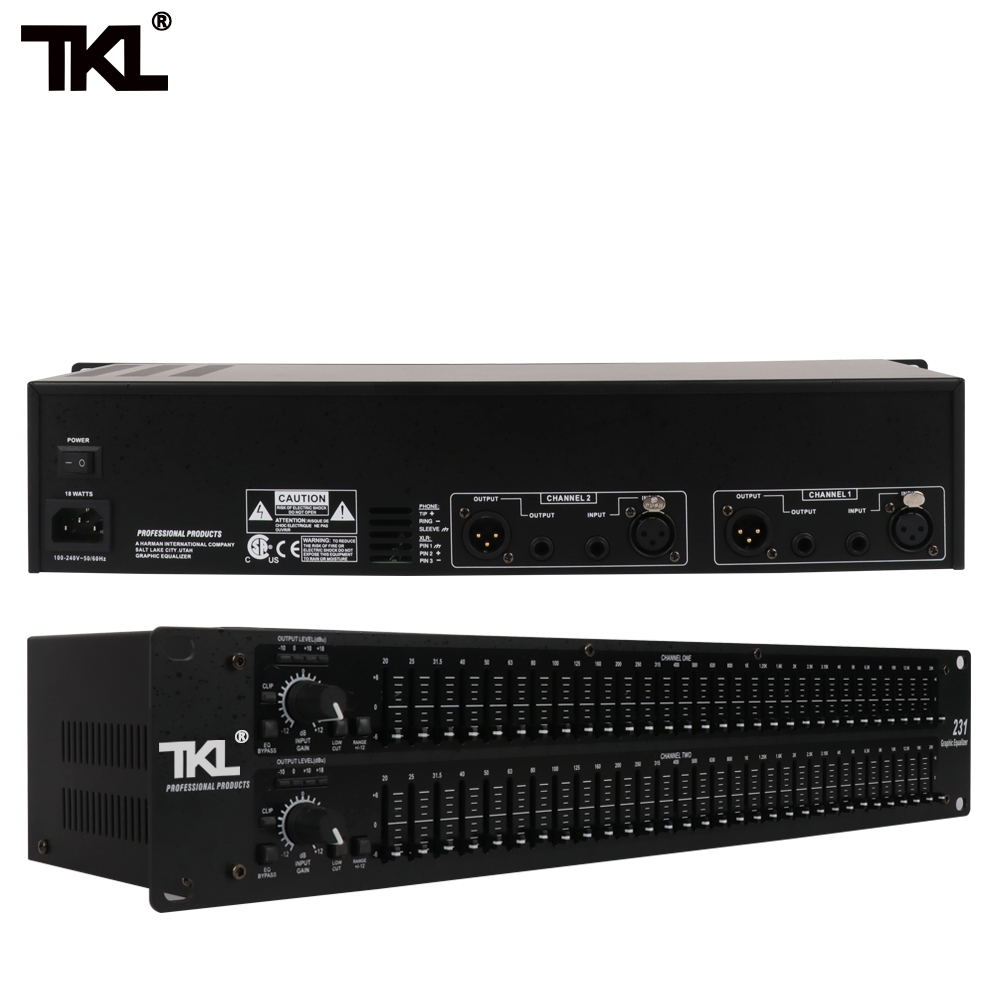 TKL 231 sound system audio equipment DJ stage best quality Dual Channel 31 Band Graphic Audio Equalizer Sound SystemTKL 231 sound system audio equipment DJ stage best quality Dual Channel 31 Band Graphic Audio Equalizer Sound System