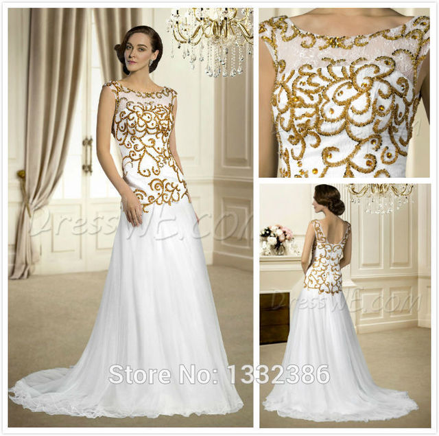 Hotperfect Bateau cuello vestidos de novia una línea larga de tul ...
