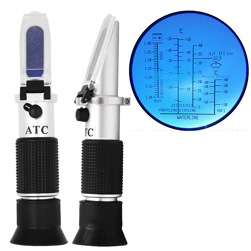 Hand Held  Engine Fluid Glycol  Point Refractometer With  ATC Tester Tool Car Battery Antifreeze Freezing 12% off hand held optical 4 in 1 car adblue urea concentration testing refractometer battery fluid ethylene propylene glycol atc