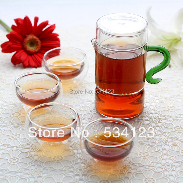250ml glass teapot + 4 x double wall tea cups Chinese Gongfu Flower Tea Set coffee Set
