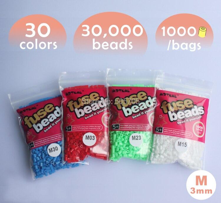 δωρεάν μεταφορά 30.000 χάντρες 30 χρώματα 3 χιλιοστά χάντρες μίνι Hama 1 pegboard 1000pcs / τσάντα / χρώμα artkal χάντρες εκπαιδευτικά παιχνίδια