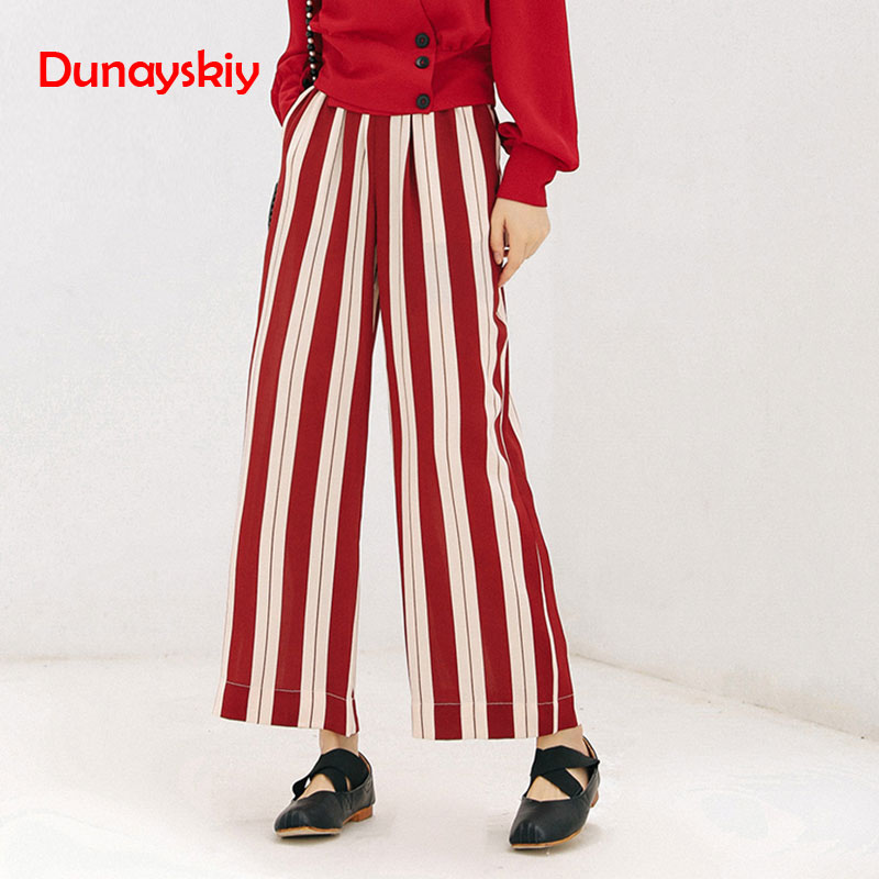 High Waist   Pants   Women 2019 Autumn Street Style Red White Striped Loose   Wide     Leg     Pants   Elastic Waist Pockets Streetwear Trousers