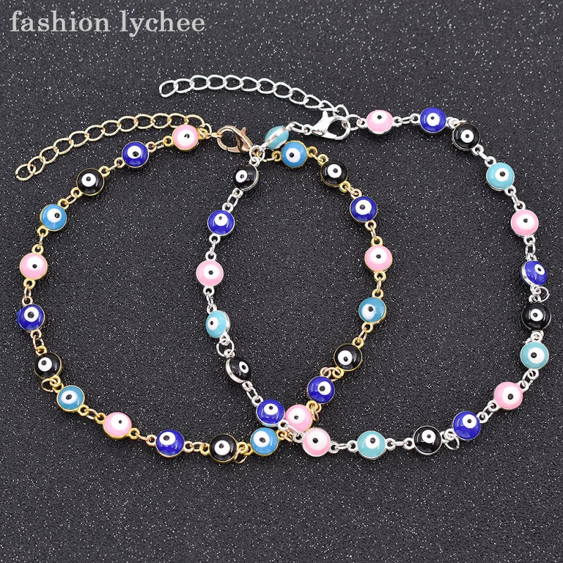 fashion lychee Turkish Gold Color Charm Evil Eye Chain Link Bracelet Rainbow Colorful Beads Bangle Jewelry For Girls Women