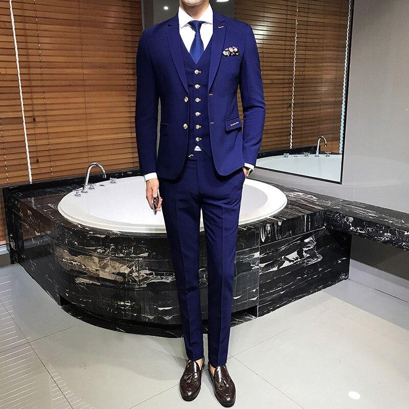Mode Hommes Costumecostume Vestes La Étroite 2019 Pièce Mariage Classique 3 À Homme PantalonQualité Coupe Bleu Gilets Costumes Supérieure De ZuwOPkXTil