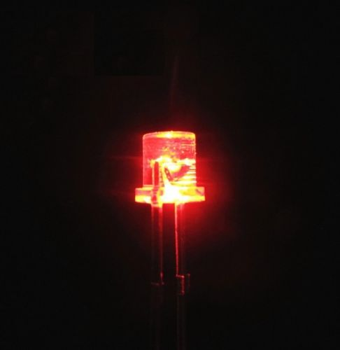 50PCS 5MM 2Pin Flat Top Red LED Wide Angle Flat Head Light Lamp ...