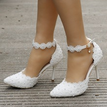 New Women Sandals Shoes Lace Pearl Appliques Buckle Strap 9cm Thin High Heels Sweet Solid Party Lady Wedding Female Pumps Shoes bonjomarisa 2018 summer sweet genuine leather sandals flower appliques shoes woman high thin heels party wedding lady shoe