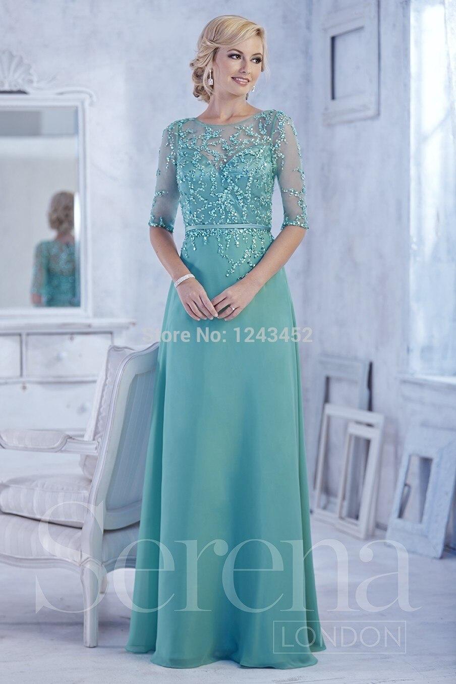 2015 Vestidos De fiesta verde Beads la mitad De manga larga De gasa ...
