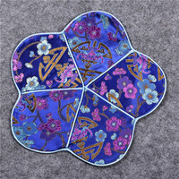 Luxury Cherry blossom Coffee Coaster Cup Placemat Natural Mulberry Silk Cloth Dining Table Mat Chinese style Protective Pad