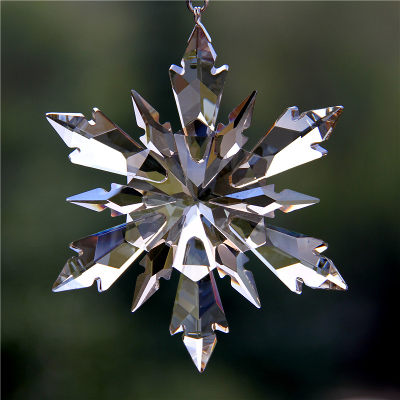 100mm DIY Cognac Christmas Snowflake Hanging Glass Pendants Crystal Suncatcher Prism Chandelier Parts Ornament Party Decor