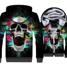 2018 3D Hoodies Men Cool Hip Hop Hooded Fashion Skull Print Sweatshirts Male Funny Tops Winter Thick Starry Sky  Jacket