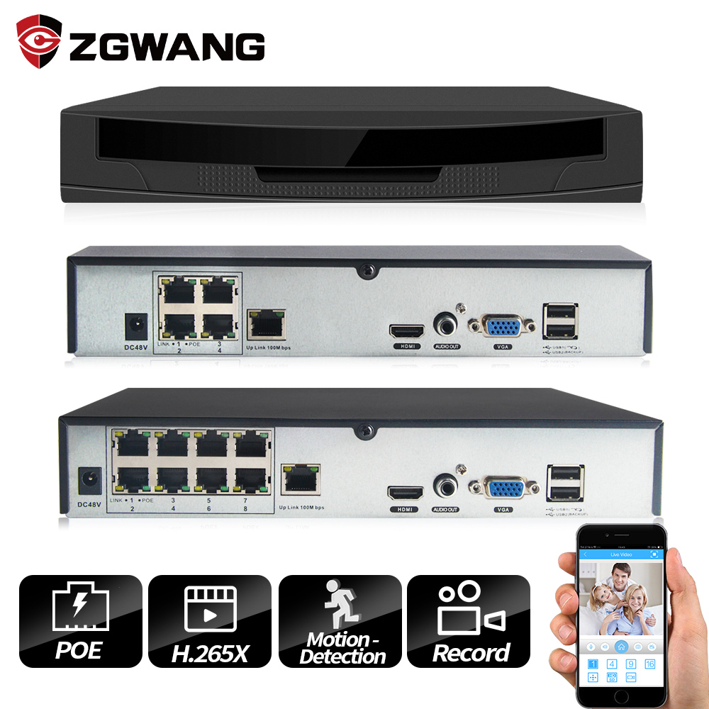 ZGWANG H.265X 4/ 8 Channel Surveillance Video Recorder POE NVR P2P ONVIF HD IP Camera Motion Detect Network Video Recorder