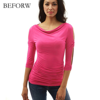 BEFORW Autumn Women S Tops Long Sleeve Solid Button Ladies Slim Tee Shirts Women Clothing Ladies