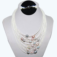 15 Rows 17-24 inches White Trendy New Design Multi Strand Natural White Pearl Leather Necklace