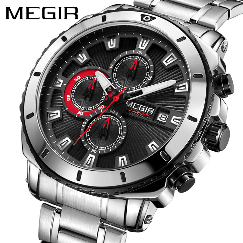 Luxury Stainless Steel Men Sport Watches MEGIR Waterproof Chronograph Male Quartz Wrist Watch Military Army Fashion Gift Clock megir watch luxury quartz men wristwatch stainless steel strap band hour time clock casual male man sport army military watches