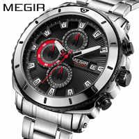 Luxury Stainless Steel Men Sport Watches MEGIR Waterproof Chronograph Male Quartz Wrist Watch Military Army Fashion Gift Clock