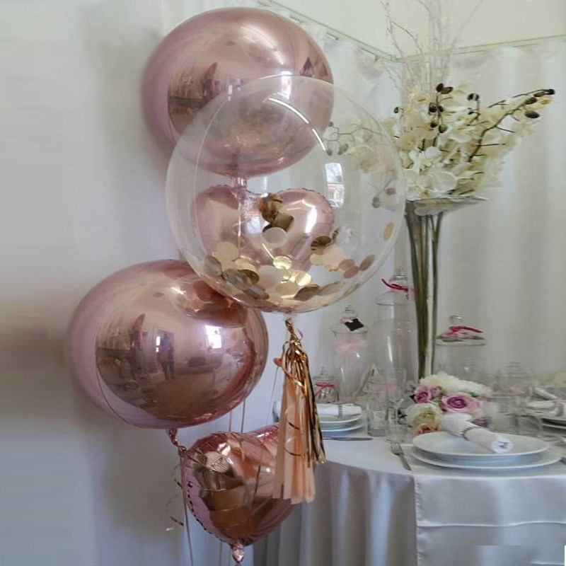 1set 18inch Rose Gold 4D and heart Balloons bubble with gold confetti Wedding Birthday Party Decor Helium Supplies