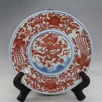 Antique MingDynasty Porcelain Plate Red Dragon Phoenix Dish Hand Painted Crafts Decorations Collection Adornment Free Shipping
