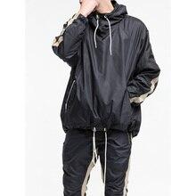 High quality 2017 new design hip hop clothes street jumpsuit loose men Fashion hip hop Windbreaker casual jacket coat zipper