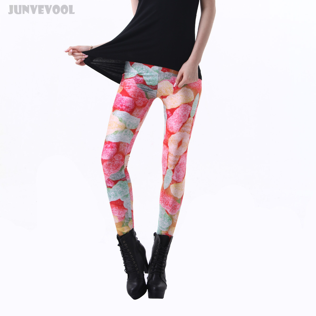 Women Bodybuilding Leggings Women Sweet Jelly Candy Full Print Skinny Suger  Legging Colorful Stretchy Jeggings Ankle - Popular Jeggings Colorful-Buy Cheap Jeggings Colorful Lots From