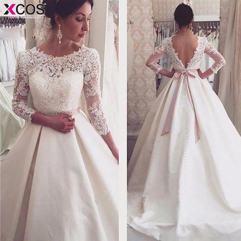 White Lace Appliques Backless Cheap Wedding Dresses 3/4 Sleeves Simple Backless Bridal Dresses