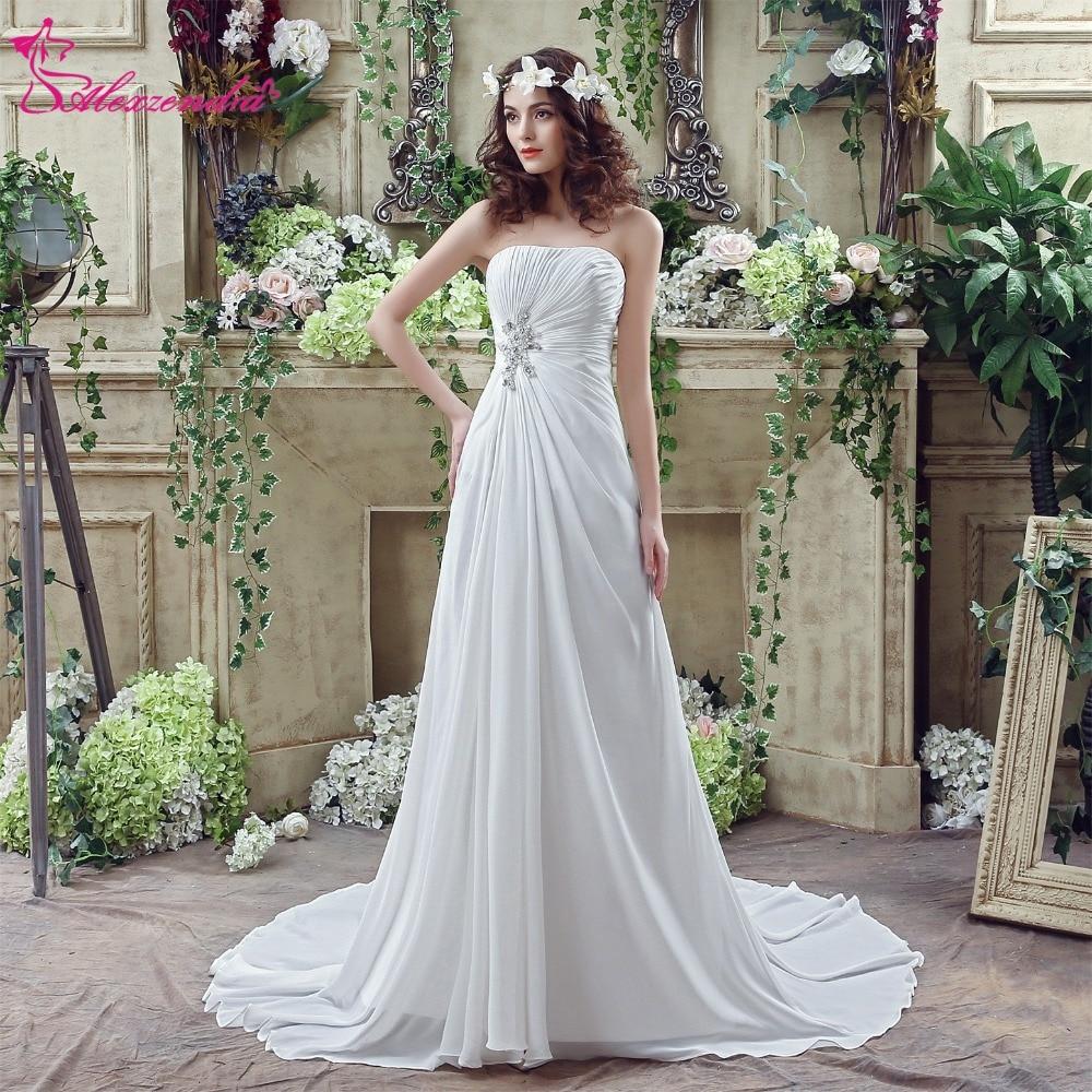 Alexzendra Stock jurken Chiffon strand trouwjurk Sweetheart kralen - Trouwjurken