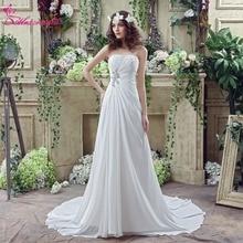 Alexzendra készlet ruhák sifon strand esküvői ruha Sweetheart gyöngyös esküvői ruhák készen állnak a hajóra