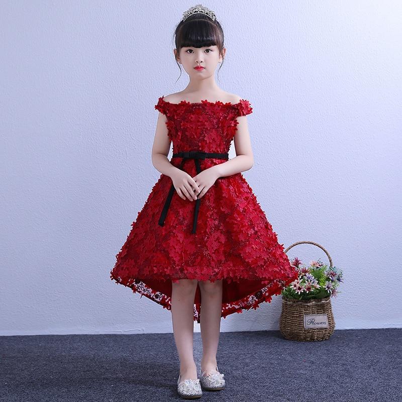 Off the Shoulder Flower Girl Dresses for Wedding Short Front Long Back Kids Pageant Dress for Birthday Princess Party Dress B419
