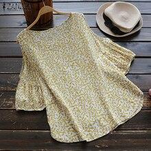 ZANZEA 2018 Elegant Summer Blouse Women Off Shoulder Blusa Female Leaf Print Top ladies Pleated Shirts Boho Blusa Femininas