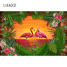 Laeacco Cartoon Flamingos Tropical Party Photocall Photography Backgrounds Custom Vinyl Photographic Backdrops For Photo Studio flamingos