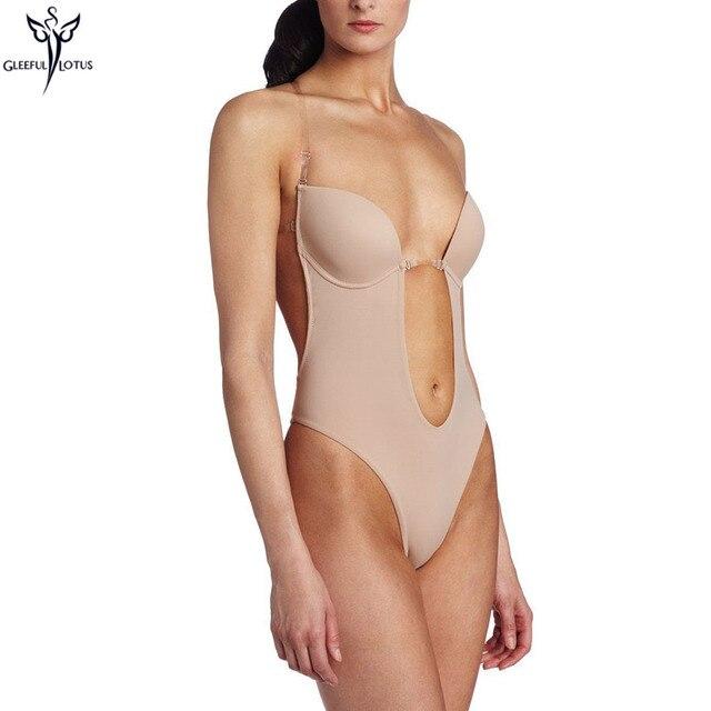 4bda3e07d911 Women Bodysuit Invisible Bra Deep Plunge Thong Back Hot shaper Backless  Shapewear Sexy Underwear For Wedding Dress Evening Gown