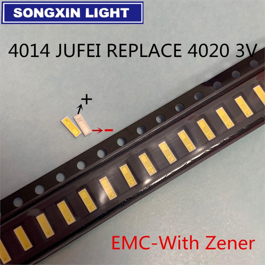 500 шт. 4014 Замена 4020 SMD СВЕТОДИОДНЫЙ ные бусины холодный белый 0,5 Вт 3 в ма для ТВ/ЖК-подсветки светодиодная подсветка Высокая мощность LED EMC