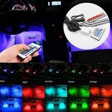 цена на Car Interior Ambient Light RGB LED Neon Strip Atmosphere Lights Floor Foot Lighting Kit 5050 SMD Wireless Remote Control