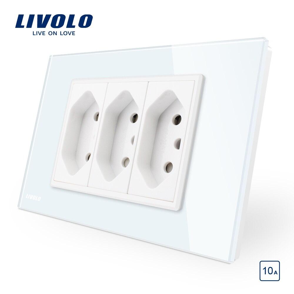 Livolo Brasileiro/Italiano Padrão 3 Pinos 10A Tomada, Branco/Preto painel de Vidro Sem Ficha, c9C3CBR1-11/12