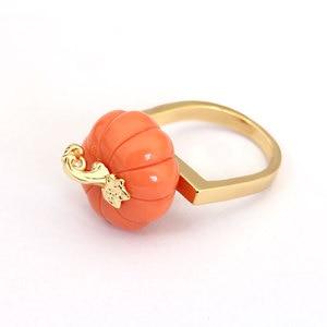 Image 3 - Orange Color Pumpkin Ring Elegant Noble Luxury Jewelry Enamel Glaze Ring bague Aneis