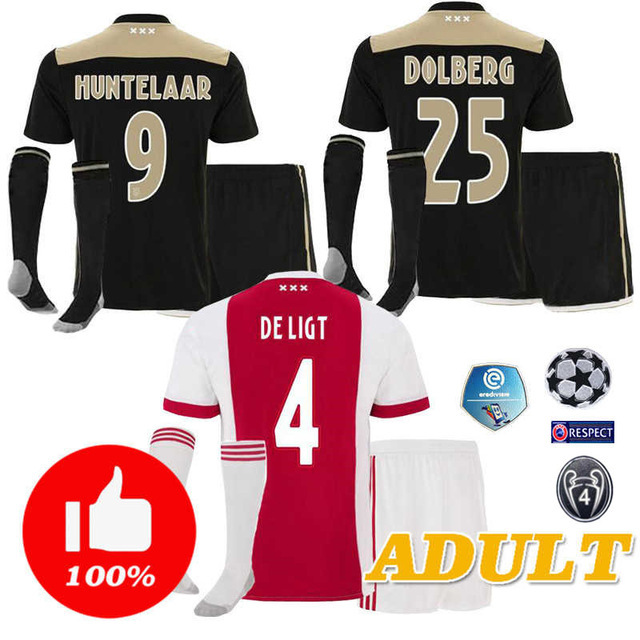 2018 2019 ajax men shirts top quality home white red tops adult ajax away black man Leisure tracksuit shirts with socks kits