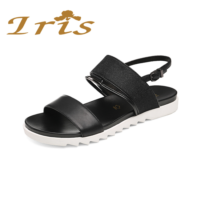 566908506a33 IRIS Flat Sandals Women 2017 New Summer Genuine Leather Squined Comfortable Casual  Back Strap Sandalias Mujer Russian Size