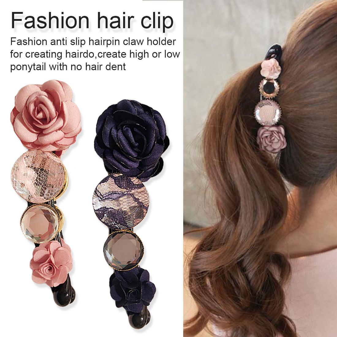 Small black flower hair pin clip barrette for fine thin hair