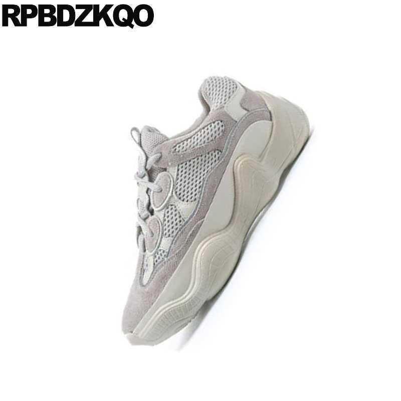 d7db2221 ... Дышащие кроссовки Китай серый дизайнерские туфли на плоской подошве на шнуровке  женские кроссовки толстой подошве harajuku ...